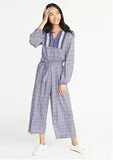 Printed Tie-Waist Jumpsuit for Women