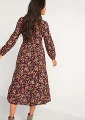 Old Navy Printed Tiered Midi Swing Dress for Women