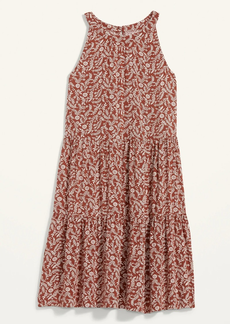 Old Navy Printed Tiered Sleeveless Swing Dress for Women