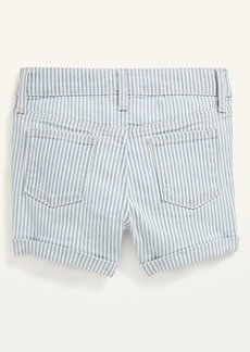 Old Navy Railroad-Stripe Snap-Fly Jean Shorts for Toddler Girls