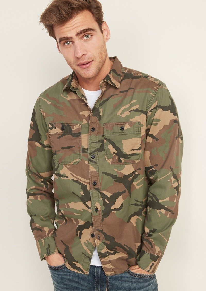 Old Navy Regular-Fit Camo Twill Workwear Shirt for Men