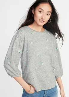 Old Navy Relaxed Balloon-Sleeve French-Terry Top for Women