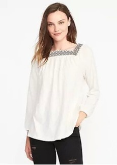 Old Navy Relaxed Embroidered Peasant Top for Women