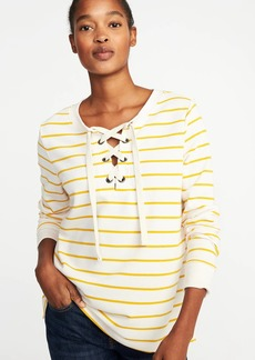 Old Navy Relaxed Lace-Up French-Terry Sweatshirt for Women