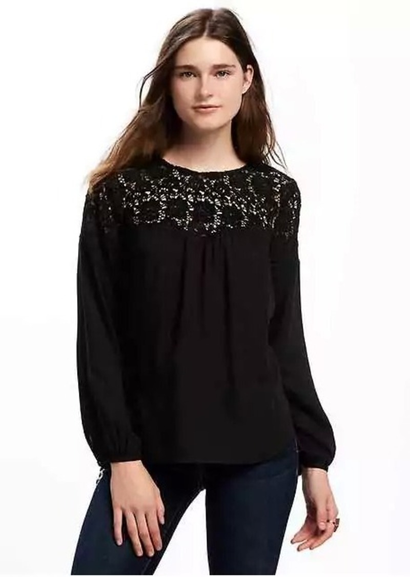 170291ea3b414f Old Navy Relaxed Lace-Yoke Blouse for Women   Casual Shirts