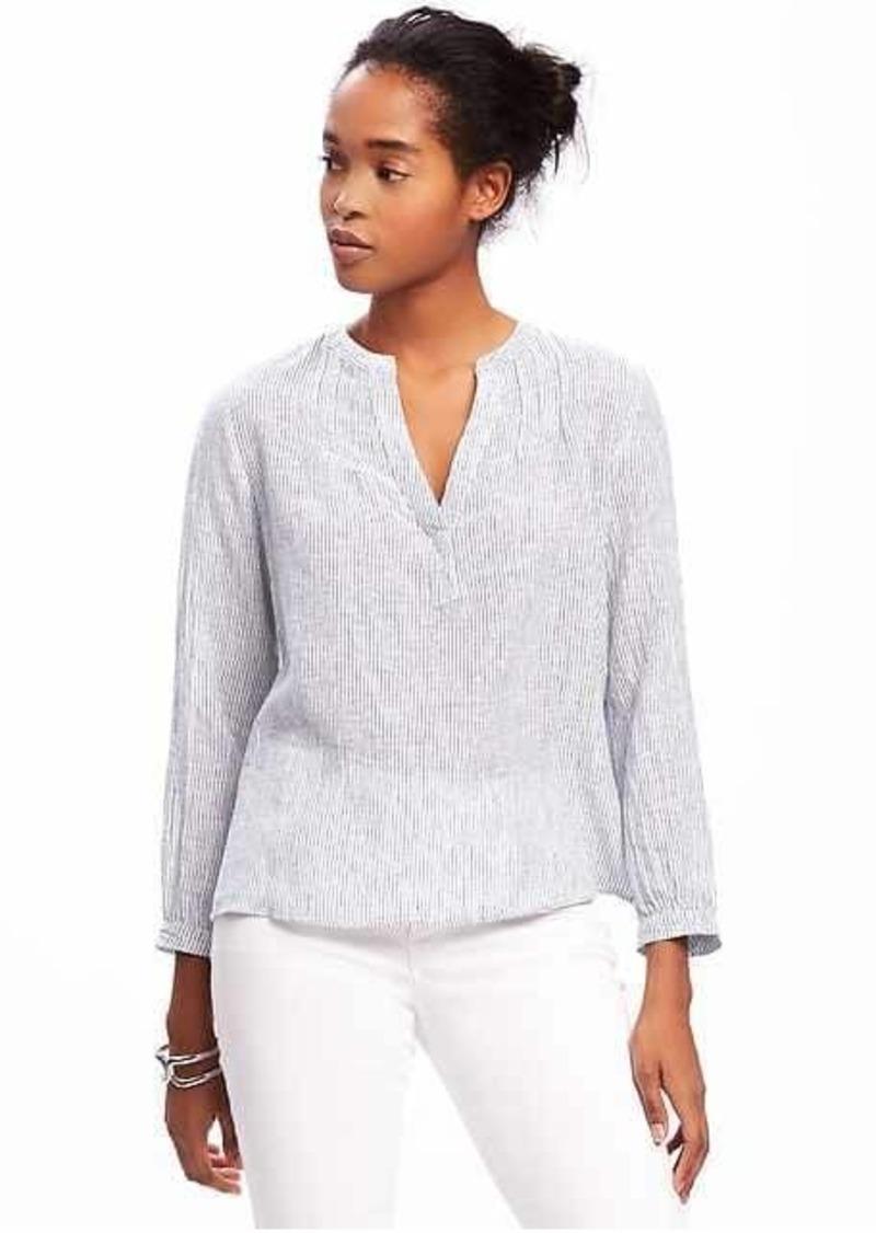 Old navy relaxed linen blend shirt for women casual for Linen women s shirt
