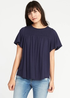 Old Navy Relaxed Smocked-Yoke Jersey Top for Women