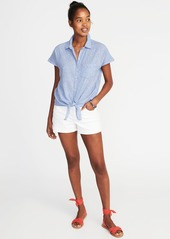 8b3f9521e6eee ... Old Navy Relaxed Tie-Front Linen-Blend Shirt for Women ...