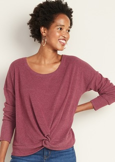 Old Navy Relaxed Twist-Front Rib-Knit Top for Women