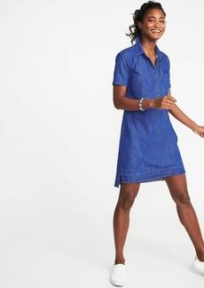Released-Hem Denim Shirt Dress for Women