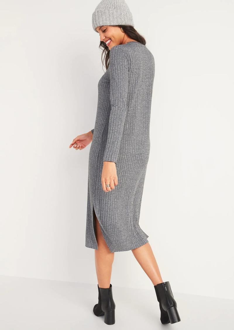 Old Navy Rib-Knit Long-Sleeve Midi Shift Dress for Women
