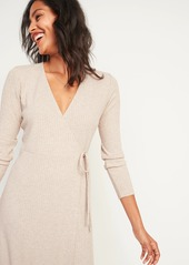 Old Navy Rib-Knit V-Neck Midi Wrap Dress for Women