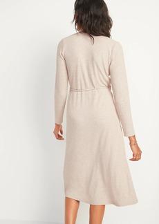 Old Navy Rib-Knit V-Neck Midi Wrap Dress for Women