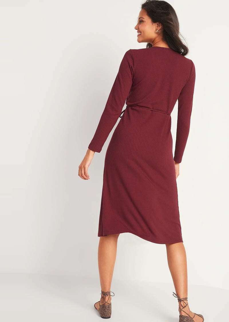 Rib-Knit V-Neck Midi Wrap Dress for Women