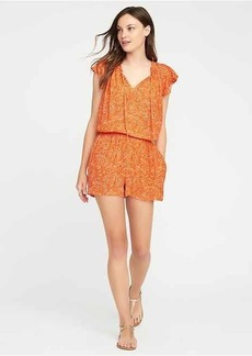 Ruffle-Sleeve Crinkle-Gauze Romper for Women