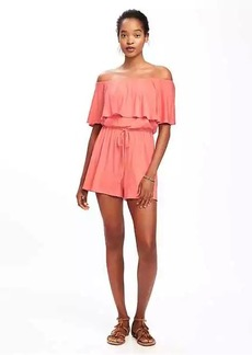 Ruffle-Trim Swim Romper for Women