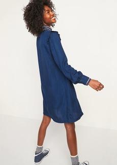 Old Navy Ruffle-Yoke Indigo Chambray Shirt Dress for Women