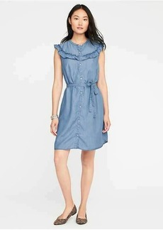 Ruffled Chambray Shirt Dress for Women