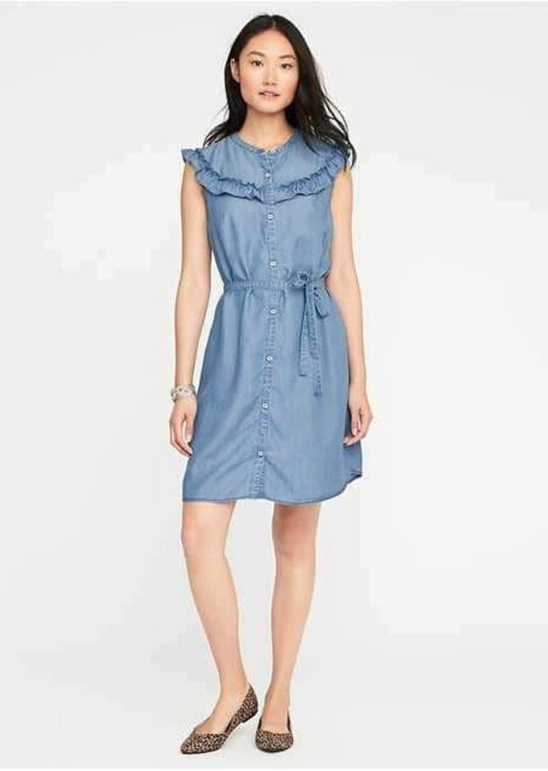b07bde70de8 Old Navy Ruffled Chambray Shirt Dress for Women | Denim