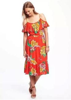 Ruffled Cold-Shoulder Dress for Women