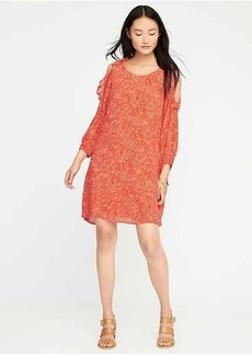 Ruffled Cold-Shoulder Swing Dress for Women
