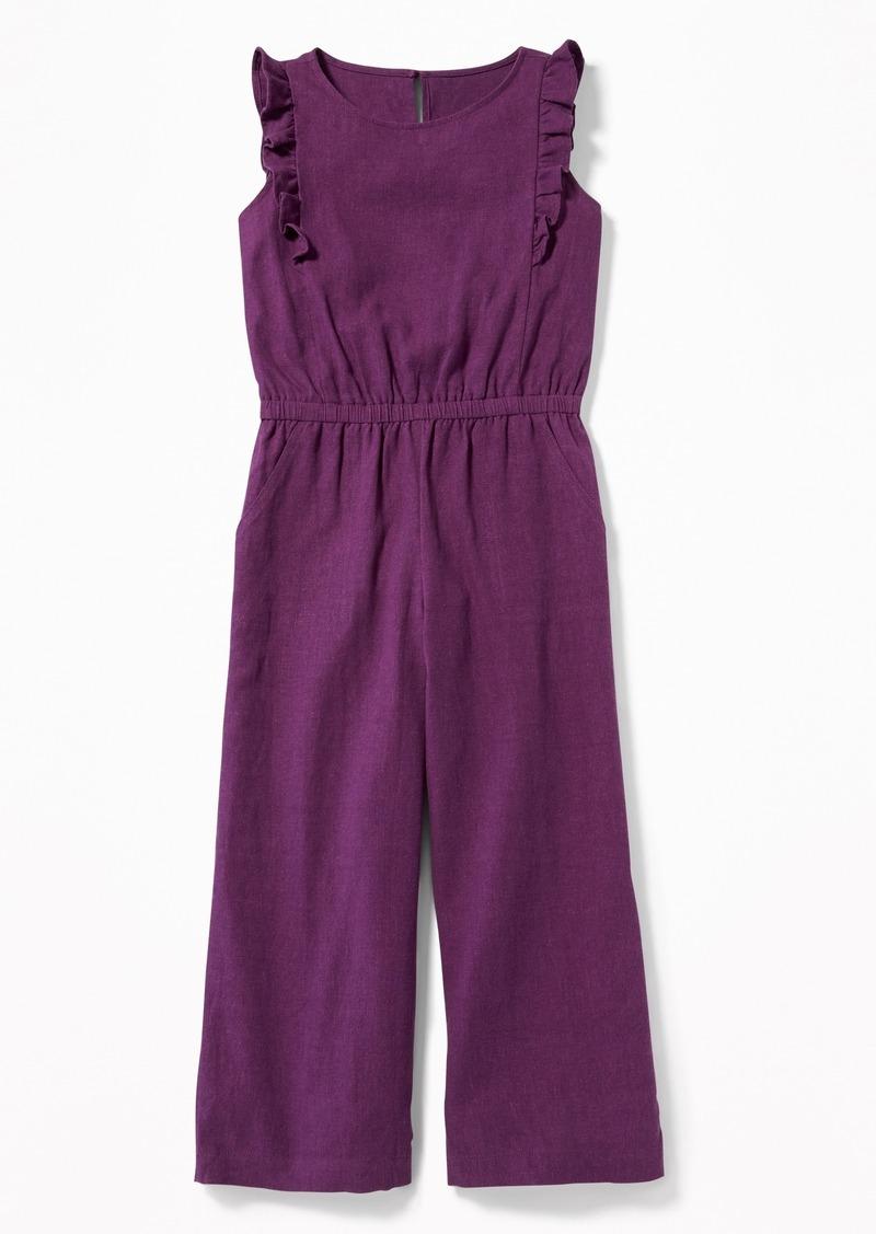 56543004159 Old Navy Ruffled Linen-Blend Jumpsuit for Girls