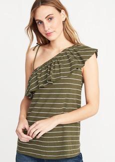 Old Navy Ruffled Linen-Blend One-Shoulder Top for Women
