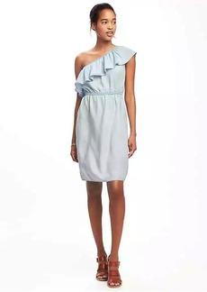 Ruffled One-Shoulder Tencel&#174 Dress for Women