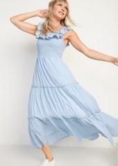 Old Navy Ruffled Smocked-Bodice Striped Sleeveless Maxi Dress for Women