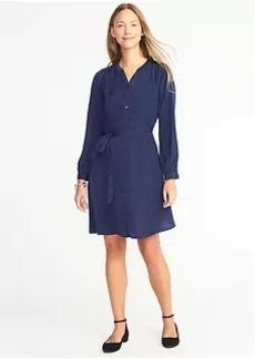 Old Navy Satin Tie-Waist Shirt Dress for Women