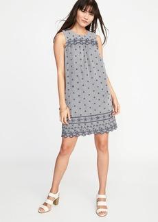 Scalloped-Yoke Eyelet Shift Dress for Women