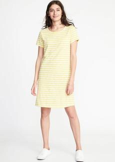 Semi-Fitted Slub-Knit Tee Dress for Women