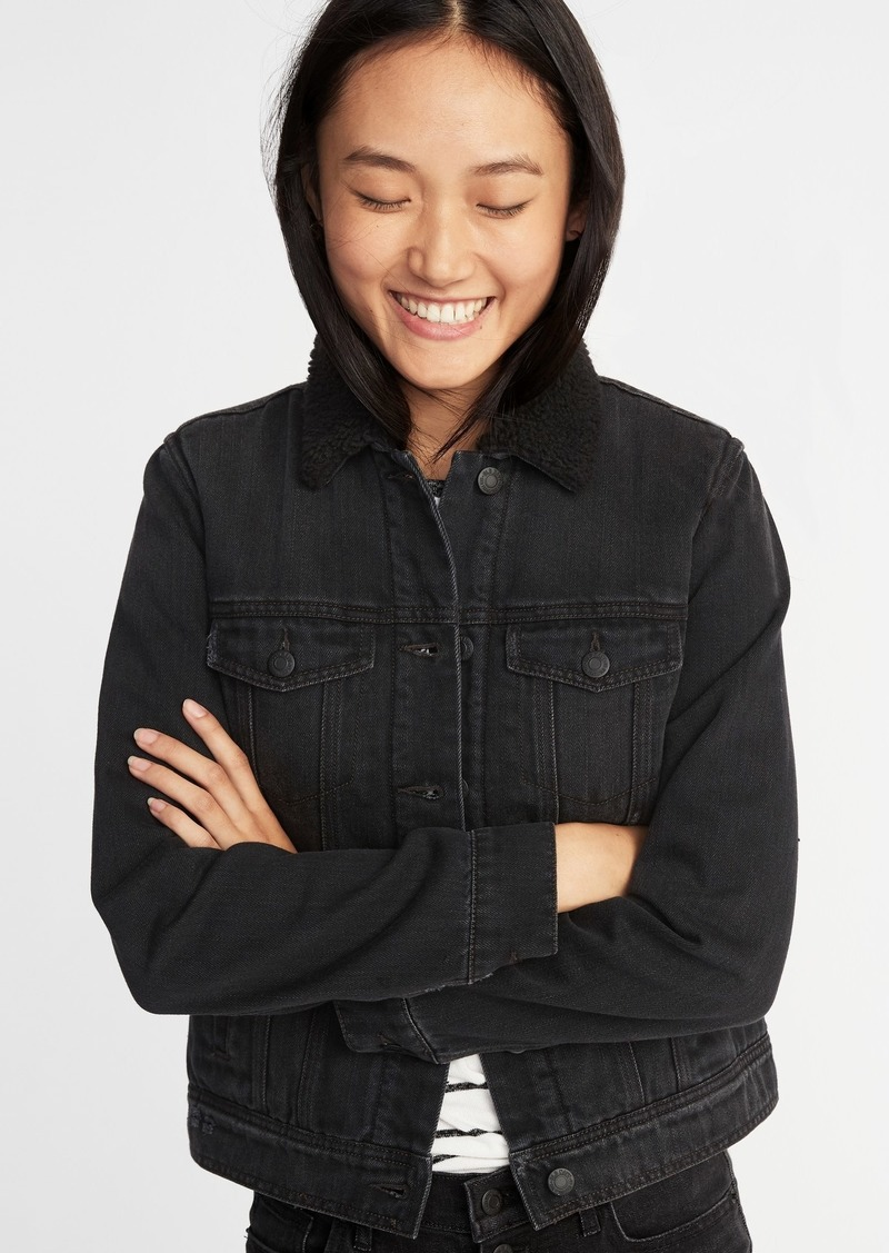 47c25162d1e22 Old Navy Sherpa-Lined Black Denim Jacket for Women | Outerwear