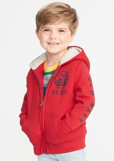 Old Navy Sherpa-Lined Logo-Graphic Zip Hoodie for Toddler Boys