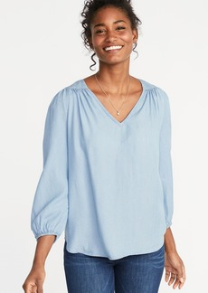 859d16d486fd1 Old Navy Shirred Tencel  174 Swing Blouse for Women