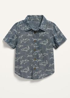 Old Navy Short-Sleeve Shark-Print Chambray Shirt for Toddler Boys