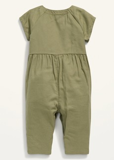 Old Navy Short-Sleeve Twill Utility Jumpsuit for Baby
