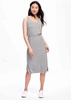 Side-Slit Jersey Midi Dress for Women