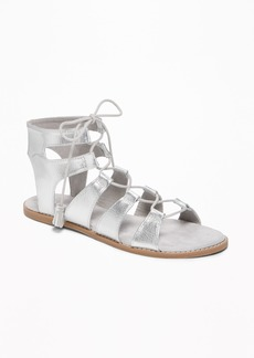 Old Navy Silver-Metallic Lace-Up Gladiator Sandals for Women
