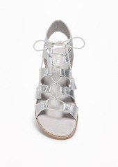 62fed3e8985 ... Old Navy Silver-Metallic Lace-Up Gladiator Sandals for Women ...