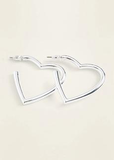 Old Navy Silver-Toned Heart-Shaped Hoop Earrings for Women
