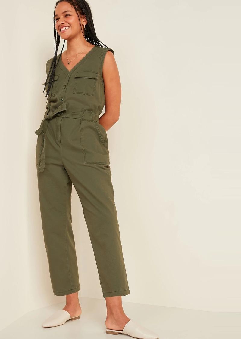 Sleeveless Canvas Tie-Belt Utility Jumpsuit for Women