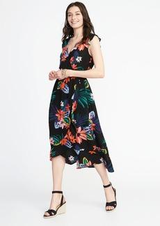 Sleeveless Cinched-Waist Crinkle-Gauze Dress for Women