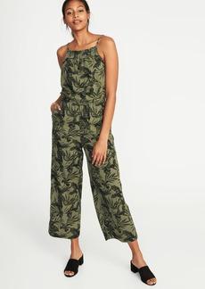 Sleeveless Cinched-Waist Linen-Blend Jumpsuit for Women