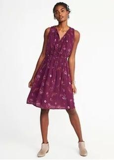Sleeveless Cinched-Waist Printed Dress for Women