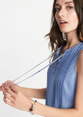50923677525 ... Old Navy Sleeveless Lace-Up-Yoke Pintuck Swing Dress for Women ...
