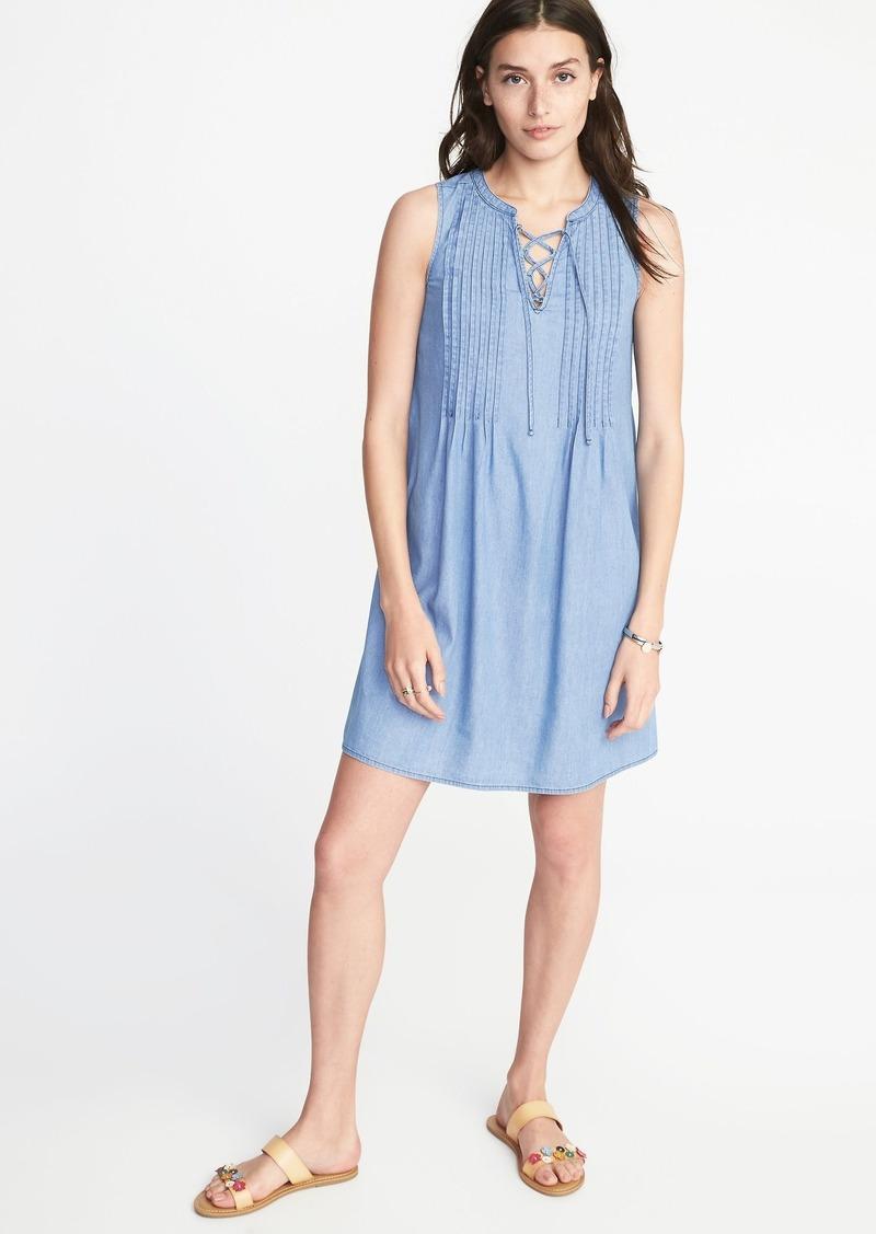 31499e08cb6 SALE! Old Navy Sleeveless Lace-Up-Yoke Pintuck Swing Dress for Women