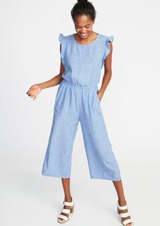 Sleeveless Linen-Blend Utility Jumpsuit for Women