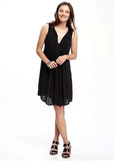Sleeveless Pintuck Swing Dress for Women