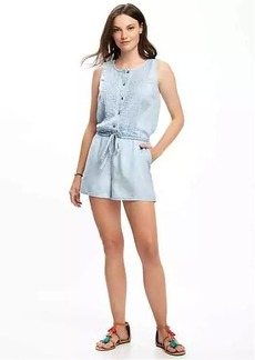 Sleeveless Pintuck Tencel&#174 Romper for Women